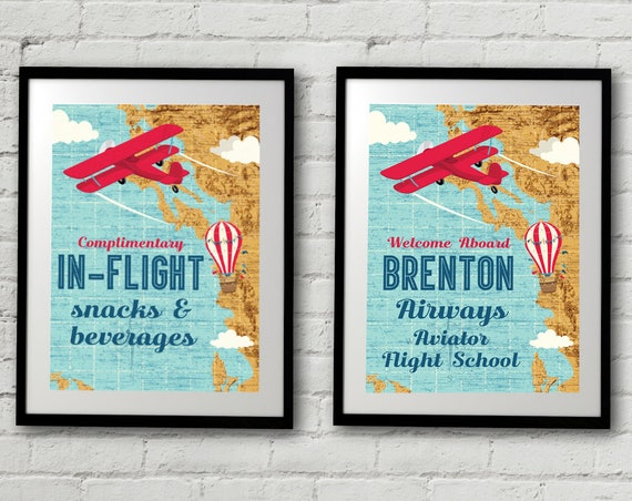 """Retro Airplane 5""""x7"""" Signs - Hot Air Balloon Sign, Aviator Signs - Map Signs, 1st Birthday 