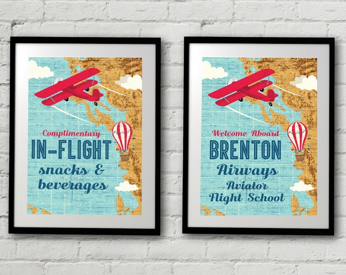 "Retro Airplane 5""x7"" Signs - Hot Air Balloon Sign, Aviator Party Signs - Map Party Signs, 1st Birthday 