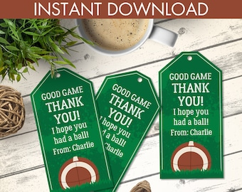 Football Favor Tag - Football Birthday, Tailgate, Super-Bowl, Bowl Party   Editable Text - Instant Download PDF Printable