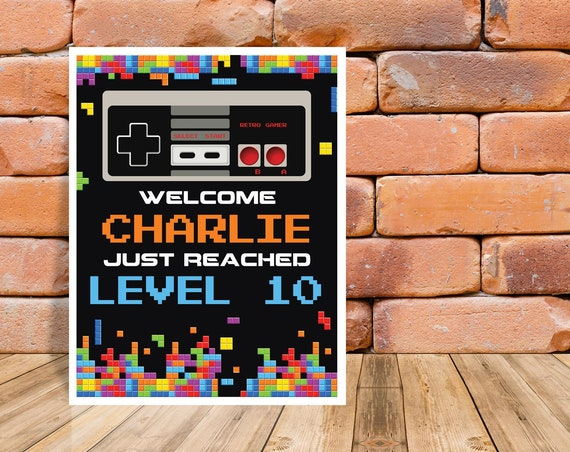 """Video Gamer Party Sign - 8""""x10"""" Welcome Sign, Game Truck Birthday, Retro Video Party 