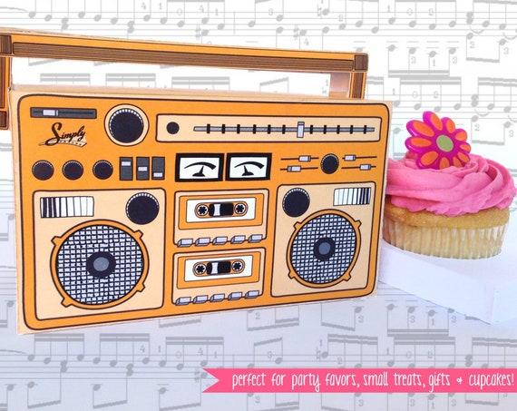 Boom Box - ORANGE, cupcake box, party favor box, 40th Birthday, 30th Birthday | Instant download DIY Printable PDF Kit