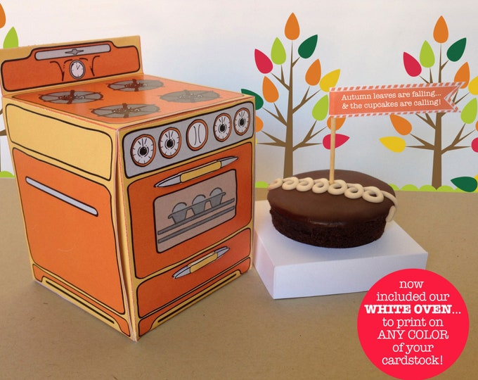 Bun In The Oven Box - Cupcake Box, Sweet Shoppe Party, Cooking Party, party favor box - 6 Boxes - INSTANT download DIY Printable PDF Kit