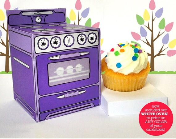 Oven Favor Box, Baking Party Favor Box, Cupcake Box, Cupcake Party, Sweet Shoppe Party - 6 Boxes - INSTANT download DIY Printable PDF Kit