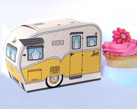 1950s RV Camper Trailer box, Caravan Box, cupcake box, gift card box, YELLOW Camper Favor Box | Instant Download D.I.Y. Printable PDF
