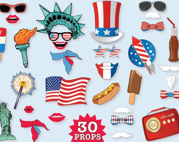 4th of July Photo Booth Props - Independence Day, U.S.A., America Party - INSTANT Download PDF - 30 DIY Printable Props