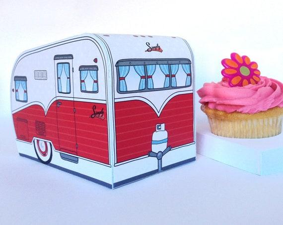 1950s RV Camper Trailer Box - Caravan Box, cupcake box, gift box, favor box RED Camper Favor Box | Instant Download D.I.Y. Printable PDF Kit
