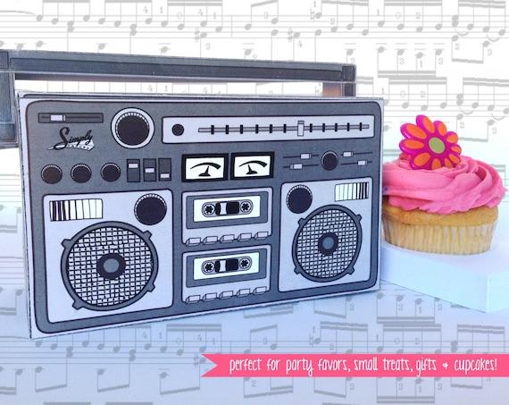 Boom Box - GREY, cupcake box, gift card box, party favor box   Instant Download DIY Printable PDF Kit