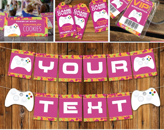 Video Game Party Printables, Gamer Birthday, Video Gamer Decor, Pink Camo Collection, Girl Birthday | INSTANT Download Printable PDFs