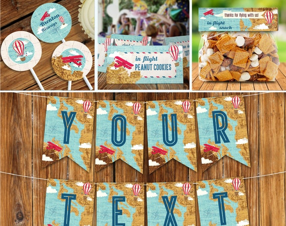 Airplane, Hot Air Balloon, Aviator Birthday Party Set, Party Decor | Editable Text - DIY Instant Download PDF Printable SEM102_7