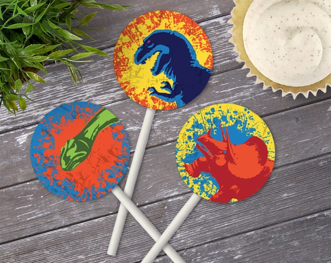 "Dinosaur Party 2"" Cupcake Topper - Dinosaur Birthday, 2"" Circle Tag 