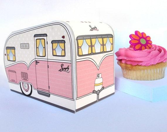 1950s RV Camper Trailer box, Caravan Box, cupcake box, gift card box, PINK Camper Favor Box   Instant Download D.I.Y. Printable PDF Kit