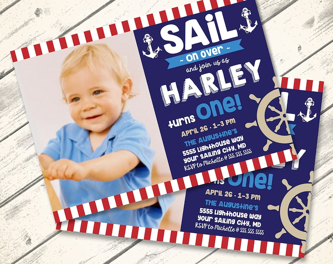 Nautical Party Invitation, 1st Birthday, Sailor Party, Birthday  | You Click & Replace Photo Invitation - DIY Instant Download PDF Printable