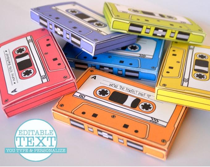 Cassette Tape Box - Retro Cassette, Party Favor Boxes, Gift Card Holder, 7 Editable Text Boxes   INSTANT Download DIY Printable PDF Kit