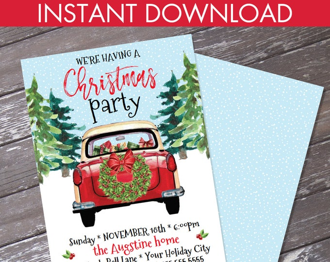 Christmas Party Invitation, Red Car Invite, Holiday Party invitation, Xmas Party   Editable Text, Instant Download PDF Printable
