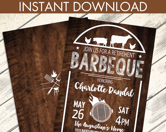 BBQ Retirement Party Invitation - Barbecue Invite, Barbeque Retirement, Retirement BBQ | Editable Text - Instant Download PDF Printable