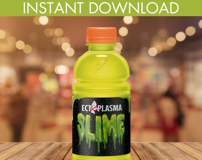 Slime Party Sports Bottle Wrappers, Ghost-buster, Ectoplasma Slime, 12oz Gatorade Wrapper | Editable Text DIY Instant Download PDF Printable