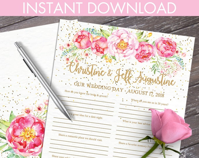 Wedding Guest Book - Guest Book Questions, Advice Card, Marriage Advice, 2-up US Letter paper | Editable Text INSTANT Download PDF Printable