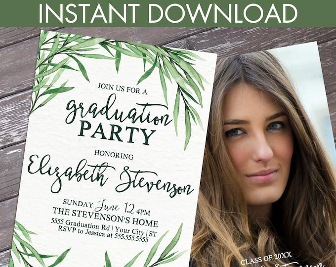 Boho Leaves Graduation Party Invitation - Graduation Celebration, University, High School | Editable Text Instant Download PDF Printable