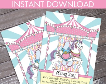 Carousel Birthday Party Invitation - Carousel Party, Merry-Go-Round Party, Self-Editing Text | INSTANT Download D.I.Y. Printable PDF
