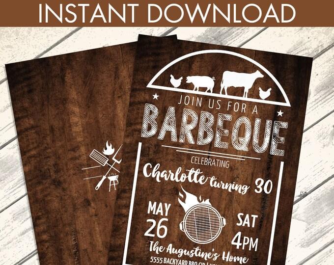 BBQ Birthday Party Invitation - Barbecue Invite, Barbeque Birthday, Birthday BBQ | Editable Text - Instant Download PDF Printable