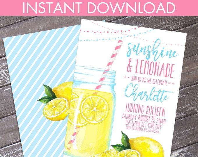 Lemonade Party Invitation - Sunshine & Lemonade, BBQ Party, Mason Jar Invite, Summer Party  | Editable Text - Instant Download PDF Printable