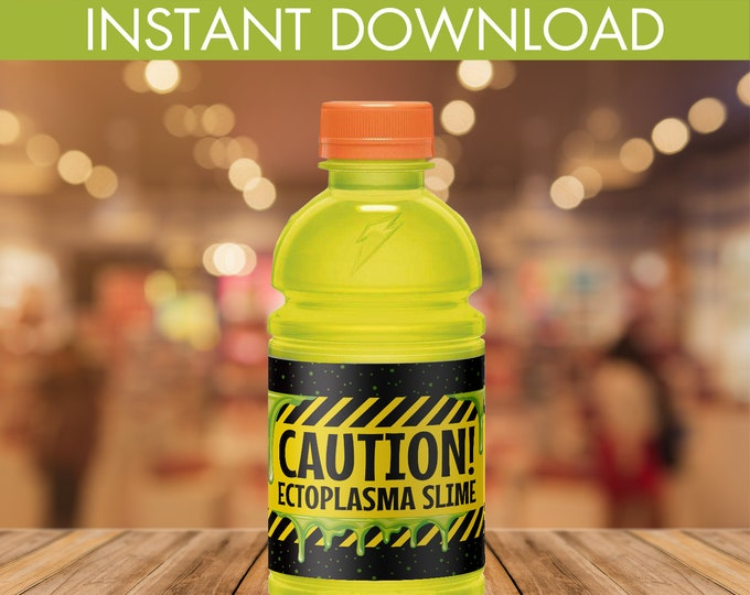 Slime Party Sports Bottle Wrappers, Ghost-buster, Ectoplasma Slime, Gatorade Wrapper | Editable Text DIY Instant Download PDF Printable