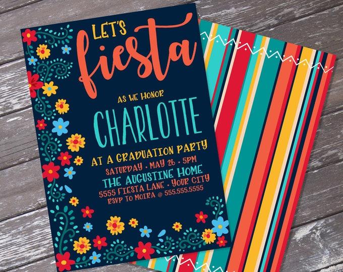 Fiesta Graduation Party Invitation - Cinco De Mayo, Fiesta Graduation Party | Editable Text - Instant Download PDF Printable