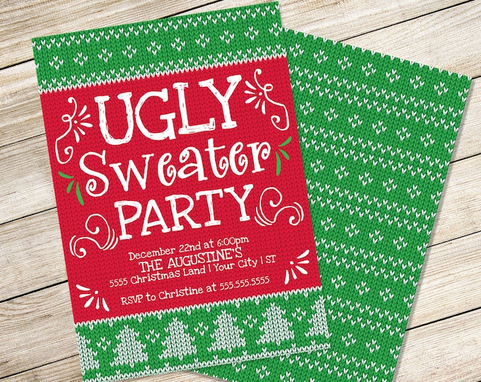 Ugly Sweater Invitation, Rock You Ugly Sweater, Tacky Sweater Party | Editable Text, Instant Download PDF Printable
