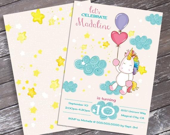 Unicorn Birthday Party Invitation - Unicorn Birthday, Rainbow Birthday | Self-Edit Text INSTANT DOWNLOAD Printable Template