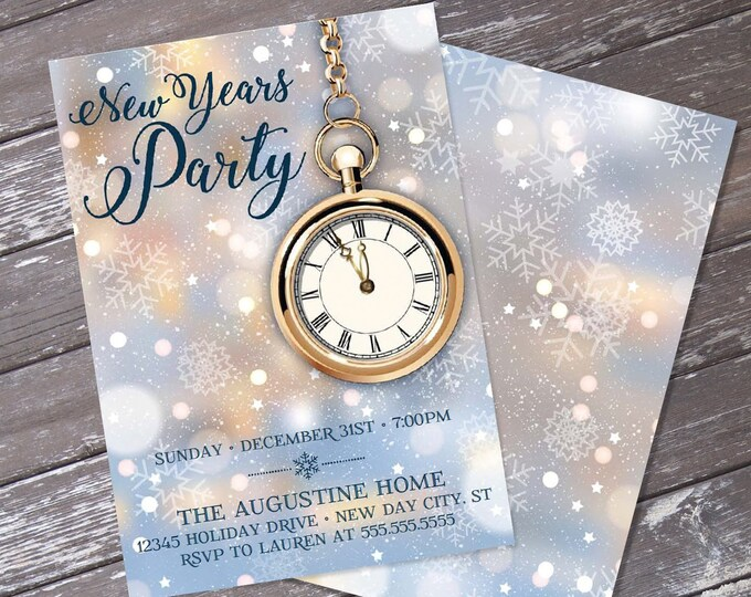 New Year's Invitation - New Year's Eve Party - New Years, You Personalize EDITABLE Text At Home | INSTANT Download D.I.Y. Printable PDF Kit