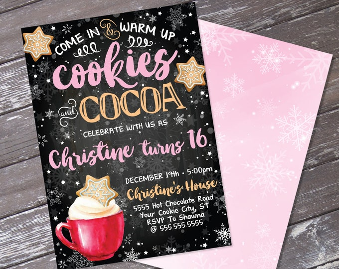 Cookies & Cocoa Invitation, Hot Chocolate Party, Cookie Decorating,Snowflake Cookie Exchange | Editable Text, Instant Download PDF Printable