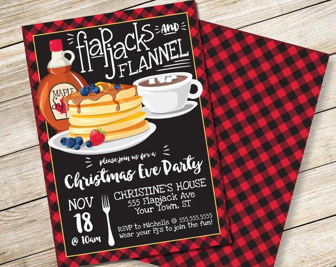 Flapjack & Flannel Invitation - Christmas Party, Breakfast with Santa, Flapjack Party | DIY Editable Text INSTANT DOWNLOAD Printable