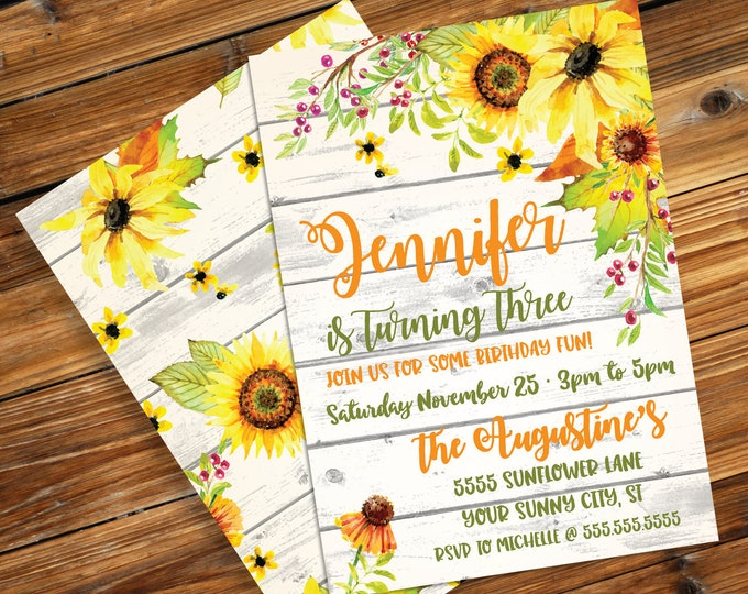 Sunflower Invitation - Reclaimed Wood & Flower, Birthday, Shower | Editable Text Instant Download Printable Template