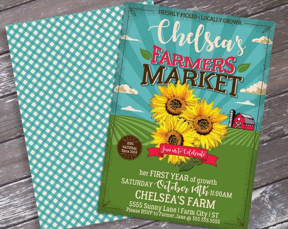Farmers Market Party Invitation - Farmers Market Party, Sunflowers | Self-Edit Text INSTANT Download Printable Template