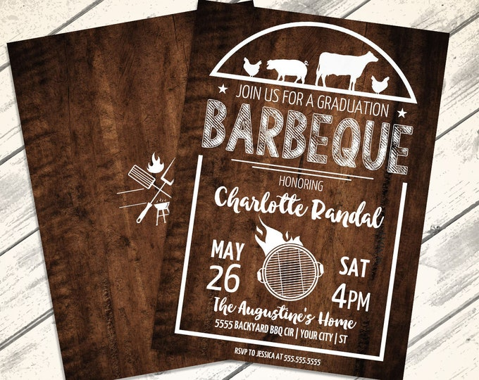 BBQ Graduation Party Invitation - Barbecue Invite, Barbeque Graduation, Graduation BBQ   Editable Text - Instant Download PDF Printable