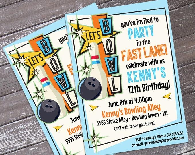 Bowling Invitations - Bowling Party, Bowling Birthday, Retro Bowling, Bowling Invite - Editable Text - INSTANT Download PDF Printable
