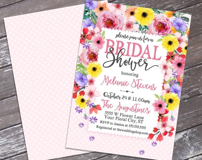 Pink Floral Bridal Shower Invitation - Garden Shower Invitation, Bridal Shower,Spring Flowers | DIY Editable Text INSTANT DOWNLOAD Printable