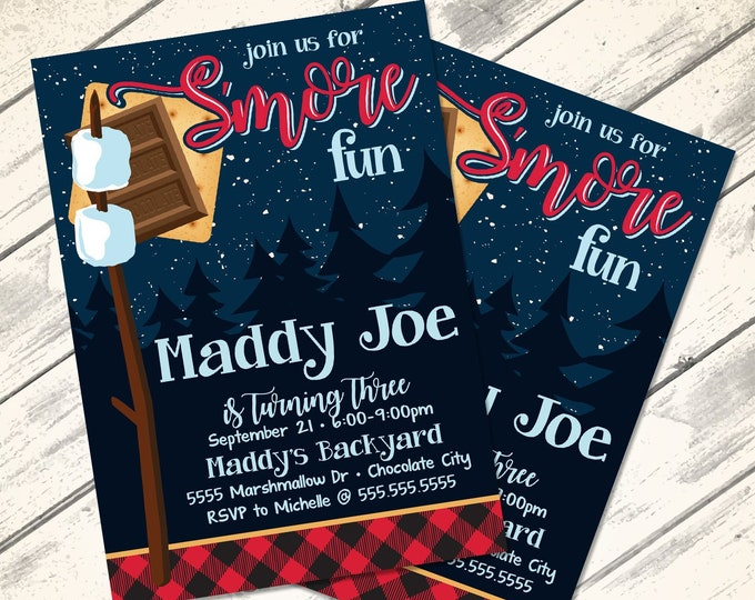 S'more Party Invitation - S'more Bar Party, S'more Birthday, S'more Fun, Bonfire   Self-Edit Text Instant Download Printable Template