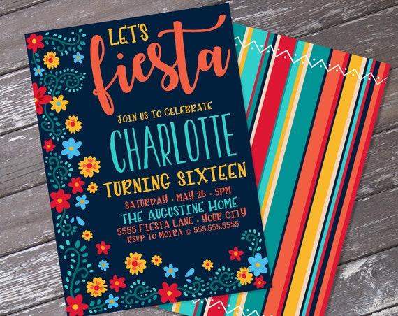 Fiesta Invitation - Fiesta Birthday invitation, Cinco De Mayo, Fiesta Birthday Party   Self-Edit Text Instant Download Printable Template