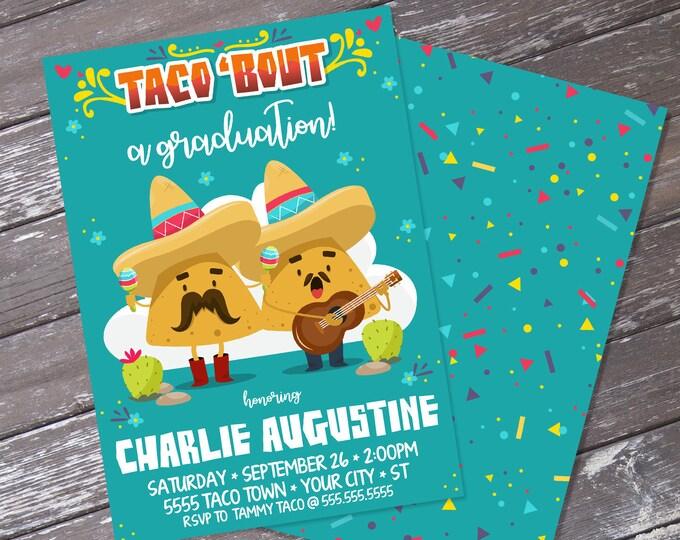 Taco 'bout... a Graduation Fiesta Party Invitation - Cinco De Mayo, Fiesta BirthdayParty   Editable Text - Instant Download PDF Printable