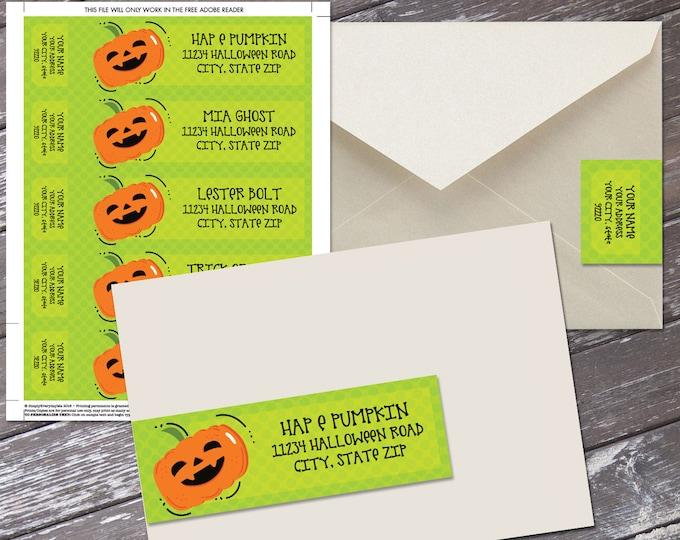 Halloween Wrap Address Printable Labels - Pumpkin Labels | Editable Instant Download DIY Printable PDF