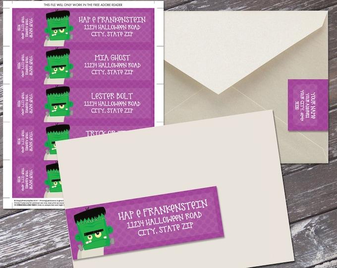 Halloween Wrap Address Printable Labels - Frankenstein Labels | Editable Instant Download DIY Printable PDF