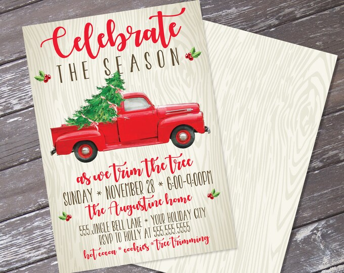 Christmas Truck Invitation - Tree Trimming Party, Holiday Open House, Christmas Party Invite | Editable Text, Instant Download PDF Printable