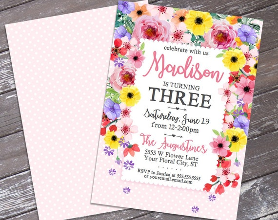 Flowers Party Invitation -Spring Flowers Invitation,Spring,Garden Birthday,Garden Party | Self-Edit Text INSTANT DOWNLOAD Printable Template