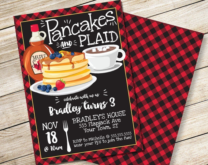 Pancakes & Plaid Invitation - Lumberjack Party, Lumberjack Party, Pancake Party | DIY Editable Text INSTANT DOWNLOAD Printable