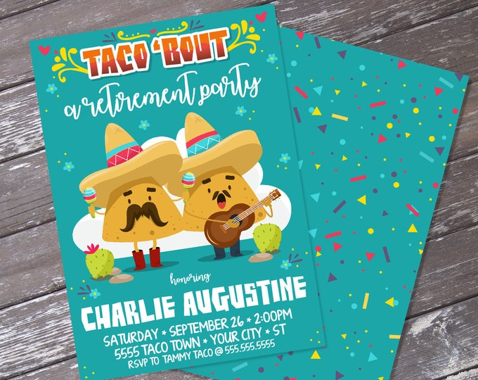 Taco 'bout a Retirement Fiesta Party Invitation - Cinco De Mayo, Fiesta Retirement Party | Editable Text - Instant Download PDF Printable