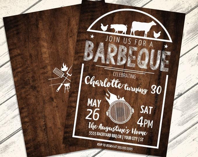 BBQ Birthday Party Invitation - Barbecue Invite, Barbeque Birthday, Birthday BBQ   Editable Text - Instant Download PDF Printable