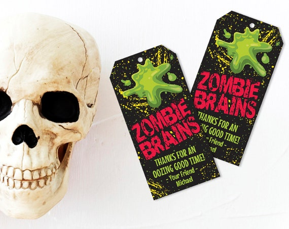 Zombie Brains Favor Tag - Zombie Party, Halloween Party, Costume Party | Self-Editing Text - Instant Download PDF Printable