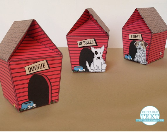 Dog House Box - Party Favor Box, Gift Box or Gift Card Holder-  Instant Download Printable PDF Kit
