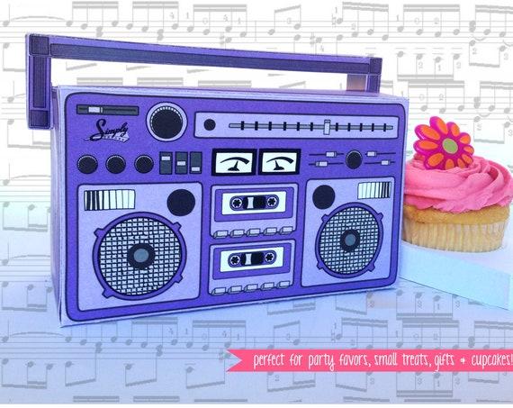 Boom Box - PURPLE, cupcake box, party favor box, 40th Birthday, 30th Birthday | Instant Download DIY Printable PDF Kit